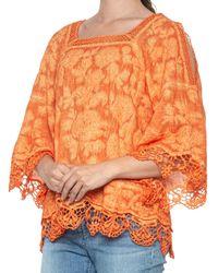 Democracy Mineral Wash Crochet Square Neck Shirt - Orange