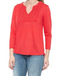 Democracy Mandarin Neck Lace Yoke Shirt - Red