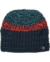 Chaos Taffeta Hand-crocheted Multicolor Beanie (for Women) - Blue