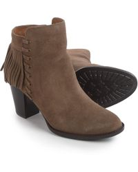 f71abc7f79f070 Lyst - Sam Edelman Fringed Leather Ankle Boots in Blue