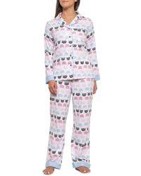 Munki Munki Cat Polka-dot Flannel Pajamas - White
