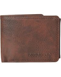 London Fog Passcase Wallet With Embossed Logo - Brown