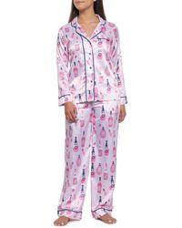 Munki Munki Rose And Champagne Satin Pajamas - Pink