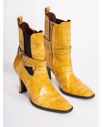 Sies Marjan Naomy Embossed Croco Boot - Yellow