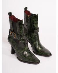Sies Marjan Naomy Embossed Croco Boot - Green