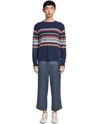 Sies Marjan Vin Cashmere Striped Crewneck Sweater - Blue