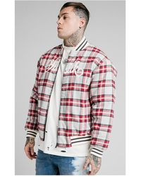 SIKSILK Oversize Flannel Check Bomber - Red