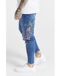 SIKSILK X Steve Aoki Drop Crotch Embroidered Denim - Blue