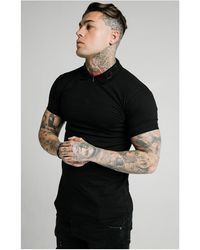 SIKSILK S/s Old English Inset Cuff Polo - Black