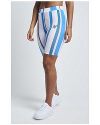 SIKSILK 90's Stripe Cycle Shorts - Blue
