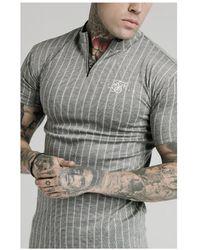 SIKSILK High Collar Zip Polo - Grey