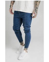 SIKSILK Drop Crotch Pleated Appliqu Denims - Blue