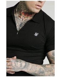 SIKSILK S/s Inset Cuff Stretch Polo - Black
