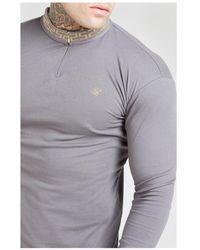 SIKSILK L/s Chain Rib Collar Cuff Polo - Grey