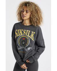 SIKSILK Varsity Oversize Sweatshirt - Grey