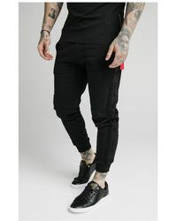 SIKSILK Fitted Suede Flock Cuff Trousers - Black