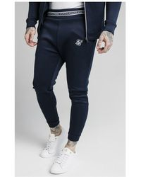 SIKSILK Element Muscle Fit Cuff Joggers- Navy & White - Blue