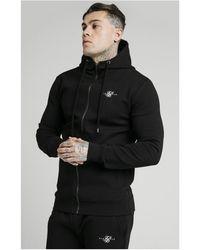 SIKSILK Zip Through Muscle Fit Hoodie – - Black