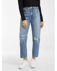 Guess Distressed Faded Blue Mom Jean