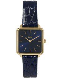 Cluse La Tétragone Textured Leather Watch - Blue