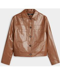 Icône Boxy Faux Patent Leather Jacket - Brown