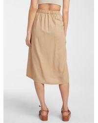 Vero Moda Buttoned Midi Skirt - Natural