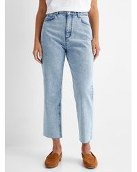 HUGO Bleached Gayang Straight Cropped Jean - Blue