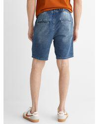Only & Sons Comfort Waist Denim Knit Bermudas - Blue
