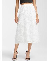 Icône Feather Midi Skirt - White
