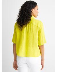 Benetton Boxy Linen Shirt - Yellow
