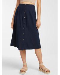 Vero Moda Buttoned Midi Skirt - Blue