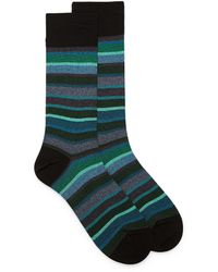 Bugatchi Ocean Stripe Sock - Green