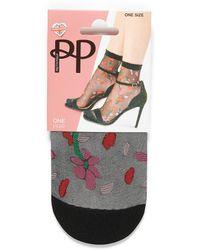 Pretty Polly Sheer Floral Ankle Socks - Black