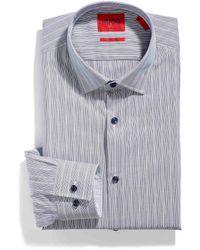 HUGO Etched Stripe Koey Shirt Slim Fit - Blue