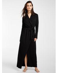 Lunya Long Fluid Collar Robe - Black