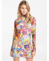 Jaded London Comic Book Mesh Dress - Multicolor