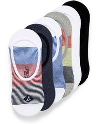 Sperry Top-Sider Solid And Striped Ped Socks 6 - Blue
