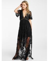 Icône Floral Mesh Maxi Dress - Black