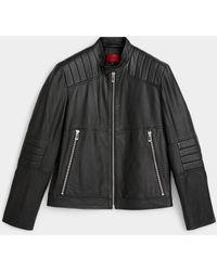 HUGO Loscar Leather Biker Jacket - Black