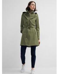 SOIA & KYO Arabella Hooded Trench Coat - Green