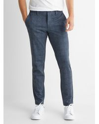 Only & Sons Chambray Check Mark Pant Slim Fit - Blue