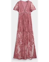 Icône Floral Mesh Maxi Dress - Pink