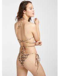 Guess Monogram String Bikini Bottom - Brown
