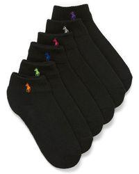 Polo Ralph Lauren Embroidered Logo Ankle Socks Set Of 6 - Black