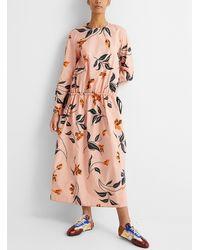 Marni Leopard Floral Poplin Dress - Pink