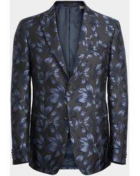 Michael Kors Indigo Floral Jacket Semi - Blue