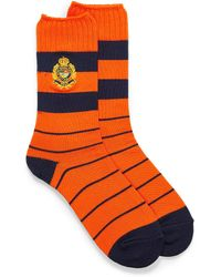 Polo Ralph Lauren Crest Embroidery Rugby Socks - Orange