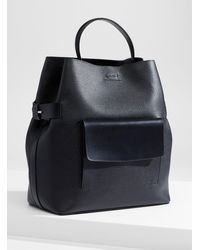Reiss Freya Grained Leather Tote - Black