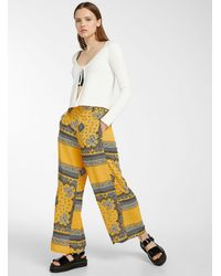 ONLY Abstract Floral Crepe Gaucho Pant - Yellow