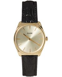 Cluse La Féroce Petite Textured Leather Watch - Black